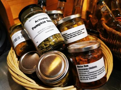 a hamper of our long lasting ferments, preserves and sauces and high vibe snacks